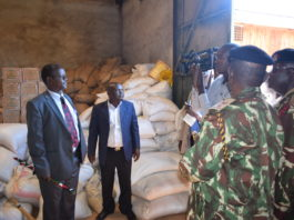 West Pokot Governor John Lonyangapuo (left) condemned cartels for pointing fingers at the current administration's dealings when it comes to maize distribution