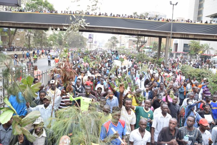 Demonstrators march through the streets of Nairobi during anti-IEBC demos on Wednesday
