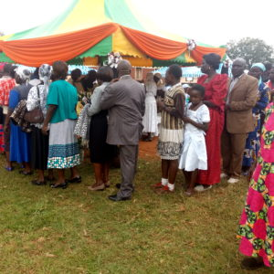 Some of the mourners who attended the funeral at Kimilili Girls' primary school in Kimilili