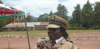 Lugari DCC Agnes Karoki addressing residents at Lumakanda sports grounds