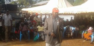 Moses Kuria addressing residents in Cherangany