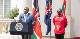 President Uhuru Kenyatta and Deputy President William Ruto during his state house address