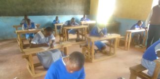 Some of the KCPE candidates in the exam room in Lugari