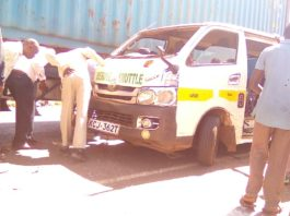 The Nissan matatu that was involved in accident at Kabrengu