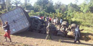 The truck driver sustained serious injuries and was rushed to hospital