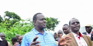 West Pokot Senator Samuel Poghisio and Governor John Lonyangapuo addressing the press