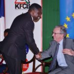 France Ambassador to Kenya Antoin Sivan meets Mining CS Dan Kazungu at the International Film Convention in Nairobi