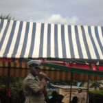 Lugari Sub County Traffic police commander Hassan Elema addressing residents at Lumakanda