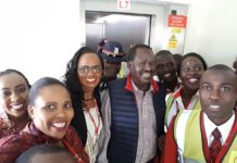 NASA leader Raila Odinga at JKIA