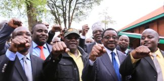 NASA leaders led by James Orengo (centre) presented the petition to the Kakamega County Assembly