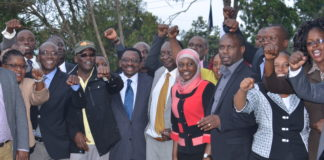 NASA leaders with a section of Vihiga County Assembly Members shortly after passing the peoples Assembly motion at the House Chambers in Vihiga. FILE PHOTO