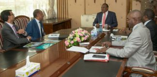 President Uhuru Kenyatta during the meeting with leaders discussing the economic path of the nation