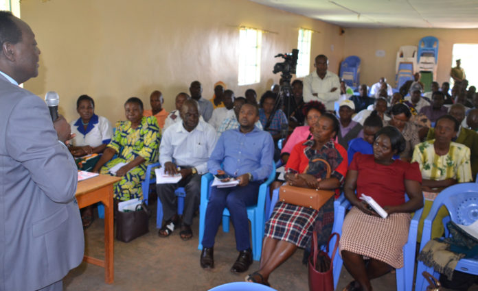 Vihiga County Governor Dr. Wilber Ottichilo addressing residents during the launch of the County Integrated Development Plan (CIDP) Mbale town