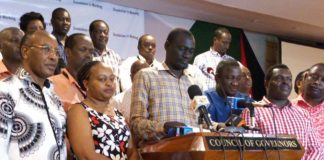 Council of Governors (CoG) Chair Josphat Nanok addressing the press