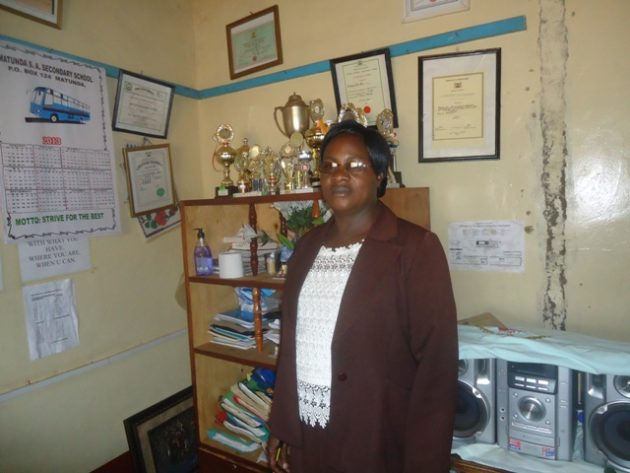 Mrs. Mary Manyonge, the principal Matunda SA secondary school
