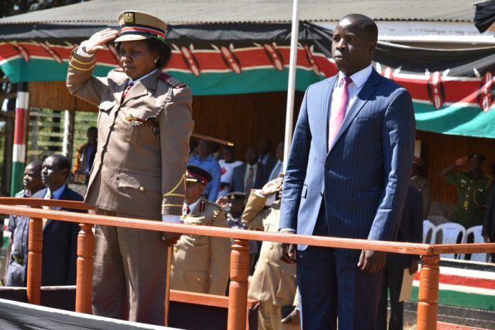 Nandi Governor Stephen Sang (right) leading the Jamhuri Day celebrations at Kapsabet showground