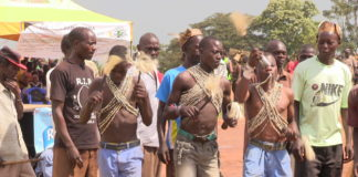 Boys showing the process of initiation rite (Embalu)