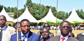 West Pokot Governor John Lonyangapuo (right) and Deputy Governor Nicholas Atudonyang