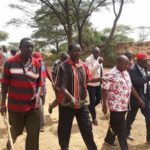 West Pokot Governor John Lonyangapuo (centre) at the scene of the incident