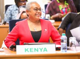 Kenya First Lady Margaret Kenyatta at the OAFLA meeting in Ethiopia