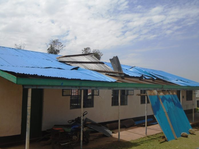 A section of the destroyed laboratory at Mukuyu girls secondary school as a result of strong winds