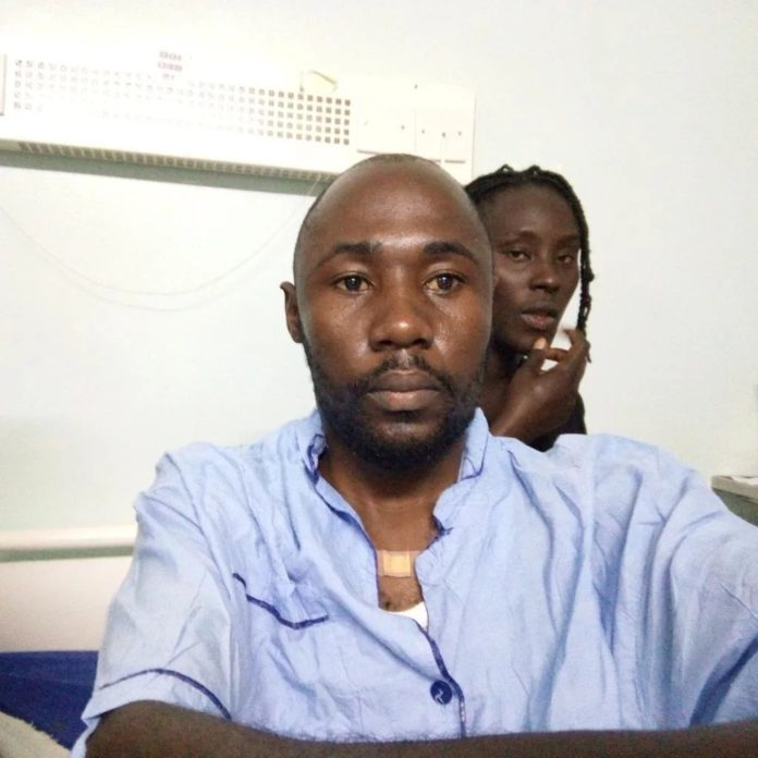 Dennis Omondi at his hospital bed at Kenyatta National Hospital