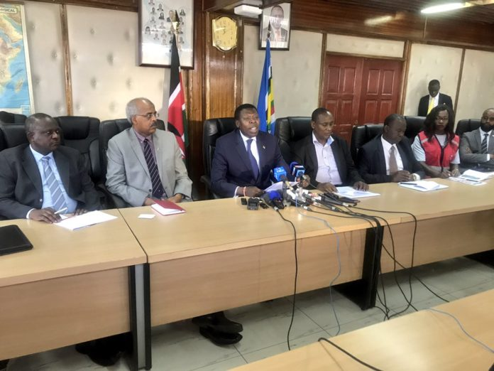 Devolution CS Eugene Wamalwa addressing the press on the drought situation in Kenya