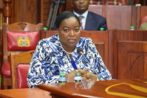 Foreign Affairs CS nominee Monica Juma before the vetting panel