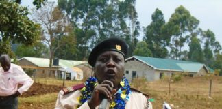 Likuyani DCC Peter Lotulia addressing a public baraza