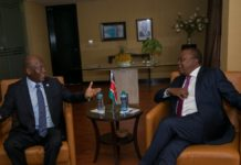 President Uhuru Kenyatta in a meeting with Tanzania President John Magufuli during the EAC summit in Uganda