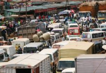 Traffic jam witnessed on Kisumu-Busia road at Luanda market after Matatu operators went on a rampage to protest harassment and arbitrary arrests by Vihiga County officer based at Luanda town