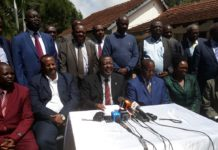 ANC leader Musalia Mudavadi addressing the press