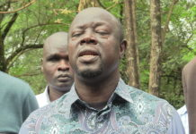 Trans Nzoia Governor Patrick Khaemba addressing the press