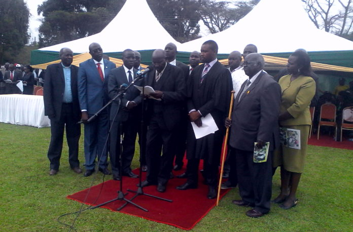 Governor Stephen Sang with elders during the launch of Land Rights and Land Justice Programme at Nandi Hills Bear Club