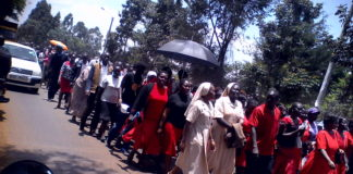 Catholic faithful in Nandi during the Via Crucis (Way of the Cross) reenactment