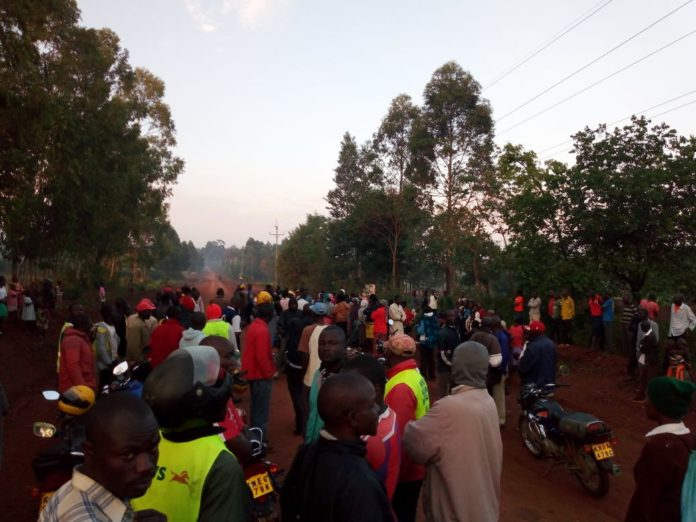 Lwandeti residents at the scene of the accident