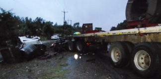 One of the trucks involved in the accident