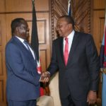 President Uhuru Kenyatta and NASA leader Raila Odinga during their meeting at Harambee House, Nairobi where they agreed to work together to restore peace and unity.FILE PHOTO