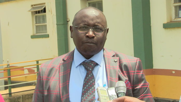 Trans Nzoia County Deputy Governor Stanley Tarus addressing the press