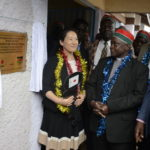 Yui Takashima Second Secretary of Japan to Kenya (left) and African Divine Church Archbishop John Chabuga (Centre) during the official opening of Bahati Primary School