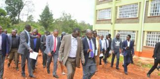 West Pokot Governor John Lonyangapuo and Kisii University VC Prof. John Akama inspecting the construction site