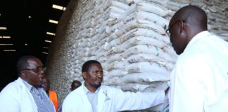 Agriculture CS Mwangi Kiunjuri (centre) flagging off bags of DAP fertilizer