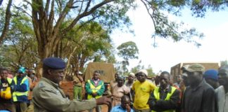 Lugari OCPD Benedict Mwangangi when he addressing boda boda operators