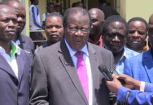 Webuye East MP Alfred Sambu addressing the press