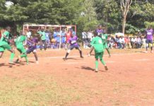 Kimilili Boys High School (in purple) playing against Nduluni Boys