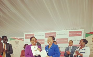 Health CS Sicily Kariuki and Council of Governors Vice Chair Ann Waiguru during the signing of the MoU