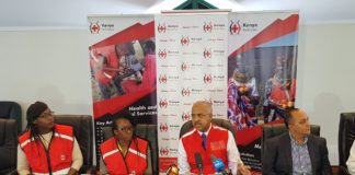 Kenya Red Cross Society secretary general Abbas Gullet addressing the press