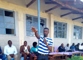 Webuye West MP Dan Wanyama addressing residents