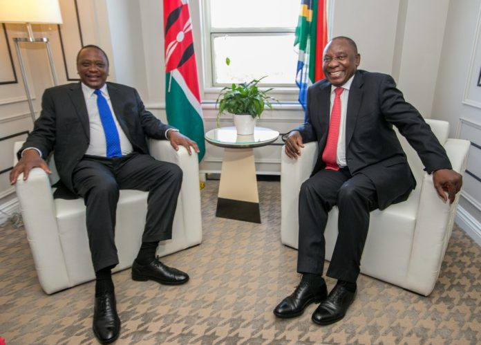 President Uhuru Kenyatta and South Africa President Cyril Ramaphosa held talks during the G7 summit in Canada