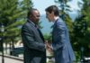 President Uhuru Kenyatta meets Canada Prime Minister Justin Trudeau ahead of the G7 summit in Canada(Photo;PSCU)